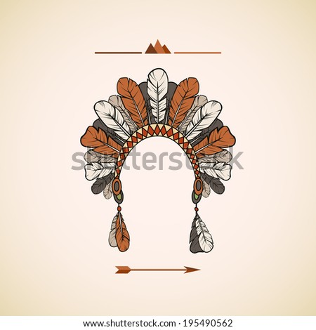 Traditional Native American headdress background - stock vector