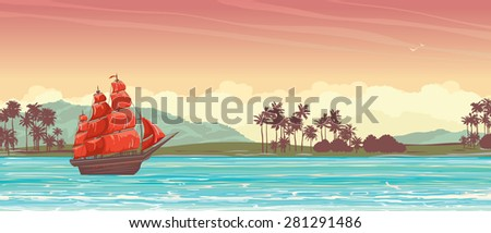 Traditional old sailboat with red sails and tropical island on a sunset sky. - stock vector