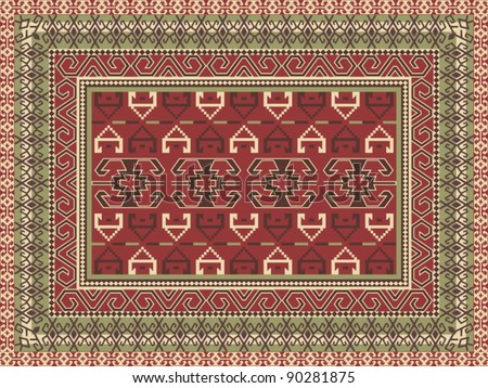 Traditional oriental carpet - stock vector