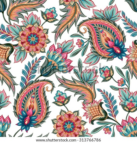 Traditional oriental seamless paisley pattern. Vintage flowers background. Decorative ornament backdrop for fabric, textile, wrapping paper, card, invitation, wallpaper, web design. - stock vector