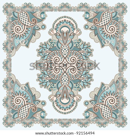 Traditional Ornamental Floral Paisley Bandana - stock vector