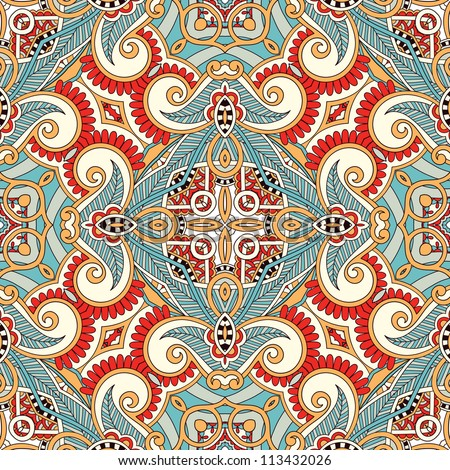 Traditional ornamental floral paisley bandanna. You can use this pattern in the design of carpet, shawl, pillow, cushion - stock vector