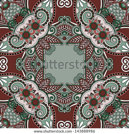 Traditional ornamental floral paisley bandanna. You can use this pattern in the design of carpet, shawl, pillow, cushion