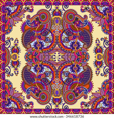 Traditional ornamental floral paisley bandanna. You can use this pattern in the design of carpet, shawl, pillow, cushion, vector illustration - stock vector