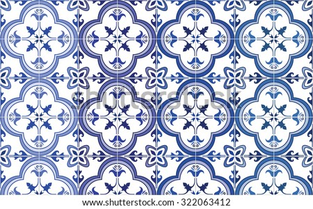 Traditional ornate portuguese tiles azulejos, 4 tone variations in blue. Vintage pattern. Abstract background. Vector illustration, eps.   - stock vector