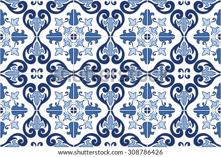 Traditional ornate portuguese tiles azulejos. Vintage pattern. Abstract background. Vector hand drawn illustration, eps10.   - stock vector