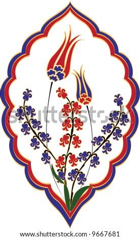 Traditional ottoman tulip hyacinth tile flowers - stock vector