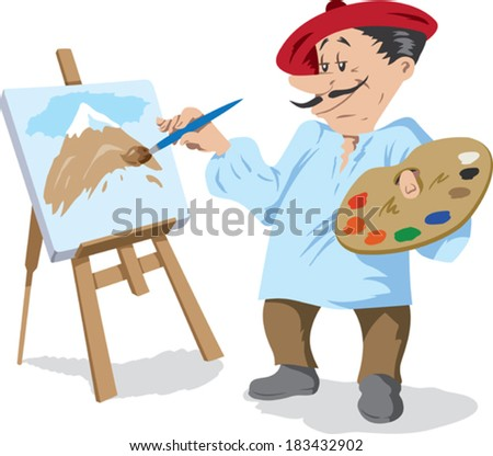 Traditional painter  - stock vector