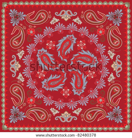 Traditional Paisley Bandana Design - stock vector