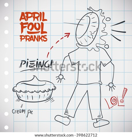 Traditional pieing jape for April Fools' Day with a creamy pie in the face of a innocent pranked. - stock vector