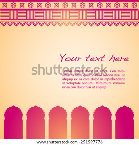 Traditional pink and cream Indian temple background with henna design border and space for text - stock vector