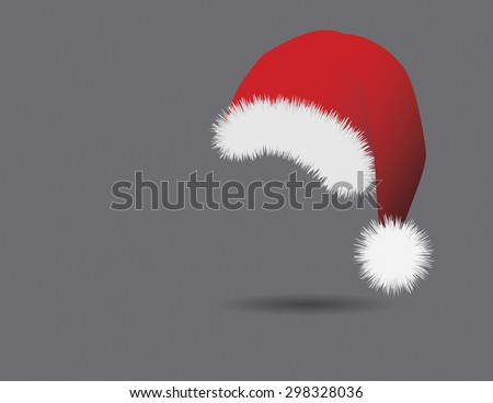 Traditional red and white Christmas hat on gray background. Vector illustration format. Saved in illustrator version 10.  - stock vector