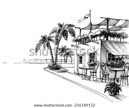 Traditional restaurant by the sea shore sketch - stock vector