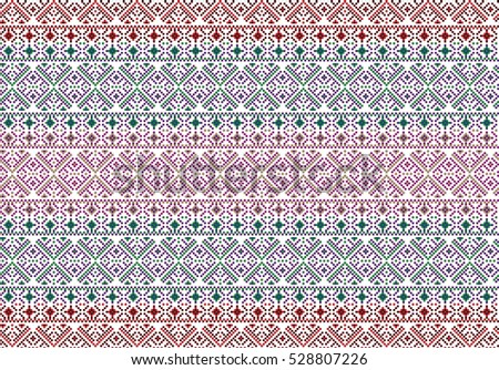 Traditional Romanian folk art knitted embroidery pattern. Spring theme.