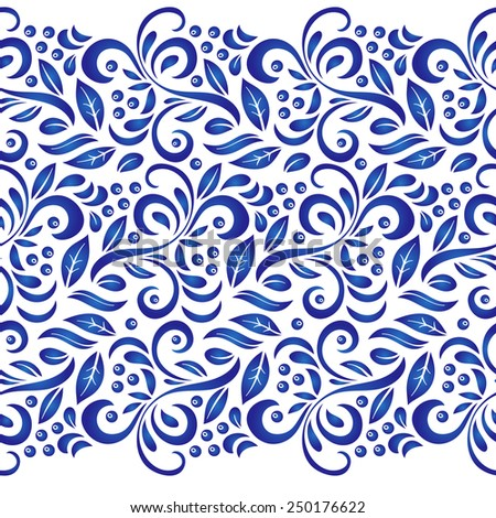 Traditional Russian vector seamless pattern in gzhel style. Can be used for banner, card, poster, invitation, label, menu, page decoration or web design