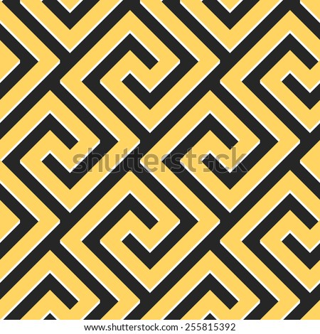 Traditional  seamless vintage gold and black square Greek ornament (Meander)  - stock vector