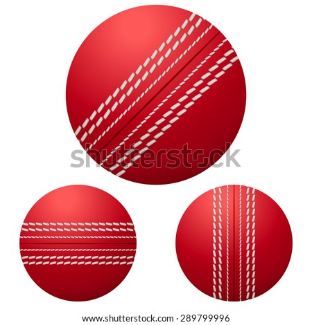 Traditional shiny red cricket ball. Vector Illustration on isolated white background.