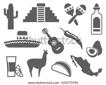 Traditional symbols of culture, the nature and food of Mexico - stock vector