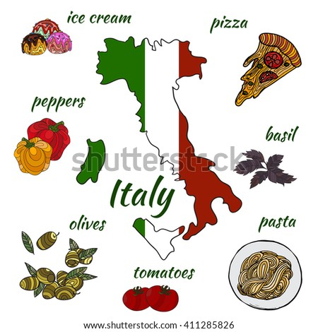 Traditional symbols of Italy with the  map, flag. Vector. Hand drawn