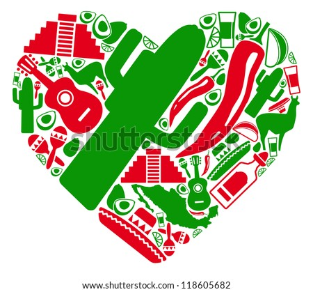 Traditional symbols of Mexico in the form of heart - stock vector
