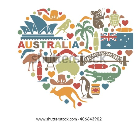Traditional symbols of nature and culture of Australia in the shape of a heart - stock vector