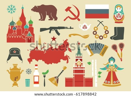 traditional symbols of russia set of vector icons