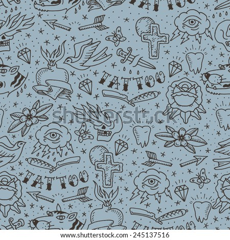traditional tattoo concept seamless pattern - stock vector
