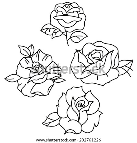 Stock Images Similar To ID 31931671 Rose Drawing