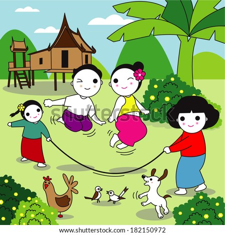 Traditional Thai Children are playing traditional Thai game Rope Jumping or Kradoad Chuak - stock vector