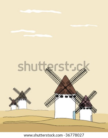 Traditional tranquil landscape with windmills - stock vector