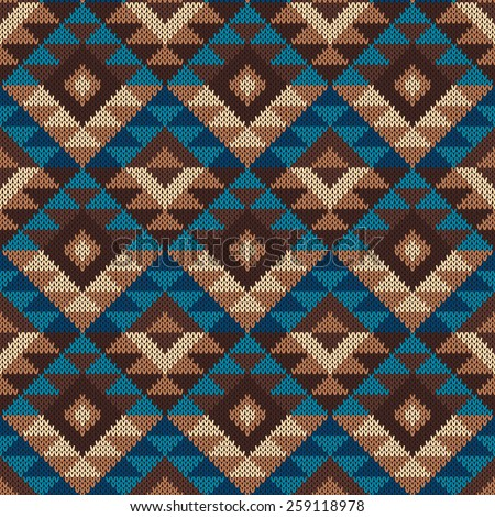Traditional Tribal Aztec Pattern Seamless Knitting Stock Vector