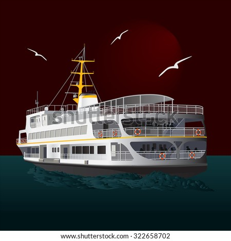 Traditional Turkish steamboat with seagulls isolated. Vector, illustration. - stock vector