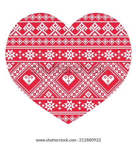 Traditional Ukrainian red folk art heart pattern - stock vector