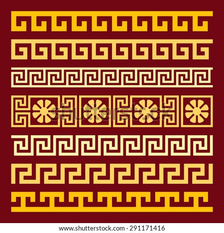 Traditional vintage golden square Greek ornament Meander on a red background - stock vector