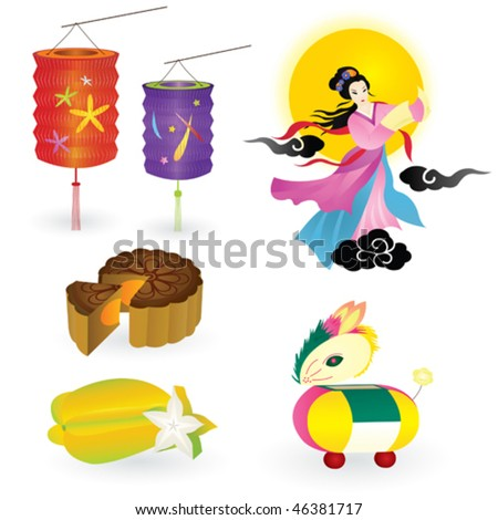 Traditions of Chinese Mid Autumn Festival including star fruit, moon cake, lantern, rabbit lantern, fairy and full moon.