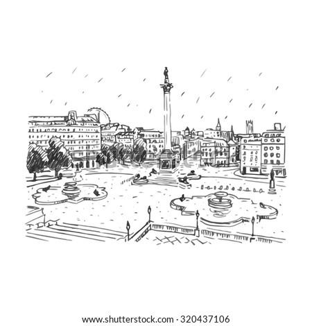Trafalgar Square, London, England, UK. Hand drawn vector illustration. - stock vector