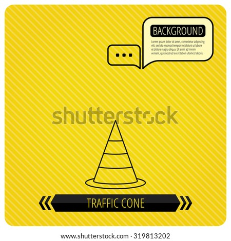 Traffic cone icon. Road warning sign. Chat speech bubbles. Orange line background. Vector
