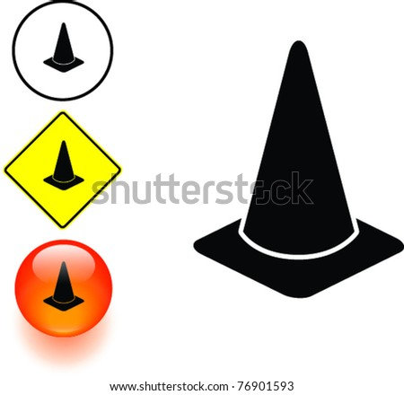 traffic cone symbol sign and button - stock vector