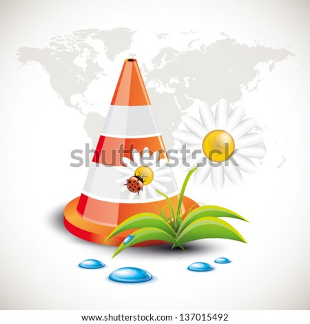Traffic Cone with flower - stock vector