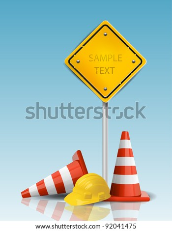 Traffic Cones and Yellow Sign with Hard Cap - stock vector