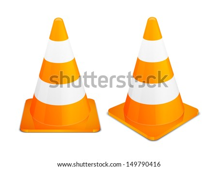 Traffic Cones road cones orange cones safety cones isolated on white background.  Vector  cones illustration of alert cones street cones. - stock vector