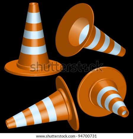 traffic cones with round base against black background, abstract vector art illustration - stock vector