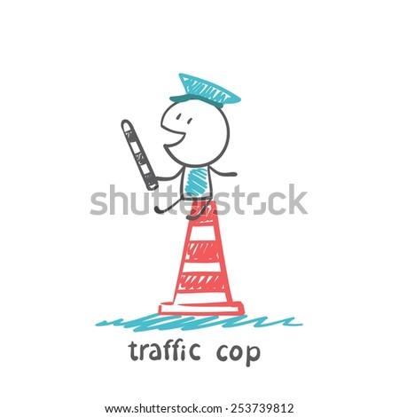 traffic cop illustrator - stock vector