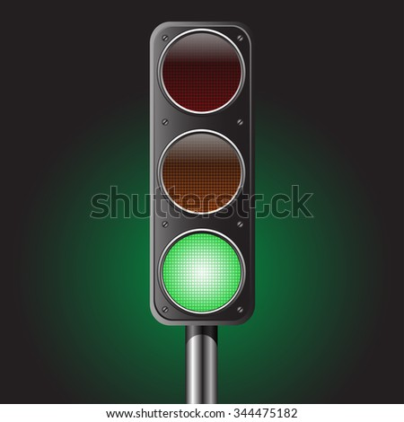 Traffic green light vector illustration for traffic sign and design background.