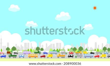 traffic jam - stock vector