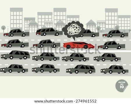 traffic jam concept,super car stuck in traffic jam and driver is in bad mood - stock vector