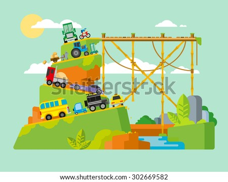Traffic jam on road in mountains. Drive transport, automobile and congestion, travel on roadway, slow and stress, stopper transit, flat vector illustration. - stock vector
