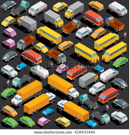 Traffic Jam on the Road, Highway. Transportation Theme Vector Seamless Background. Isolated Isometric Transport Collection. - stock vector