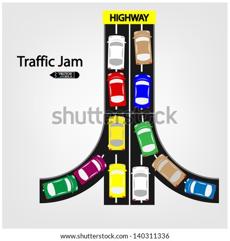 traffic jam  symbol ,vector - stock vector