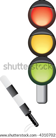 Traffic-light and rod. Vector